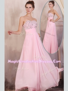 Gorgeous Empire Sweetheart Beading Baby Pink Graduation Dress