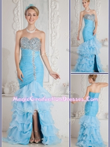 Gorgeous Mermaid Sweetheart Beading and Ruffled Layers Aqua Blue Graduation Dresses