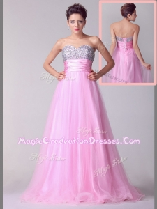 Lovely A Line Brush Train Rose Pink Graduation Dresses with Beading for Spring