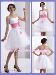 Lovely A Line Sweetheart Graduation Dresses with Hand Made Flowers