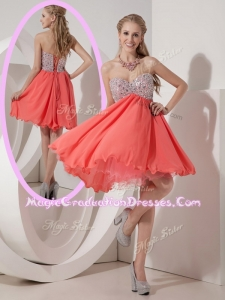 Lovely Sweetheart Mini Length Beading Graduation Dress for Homecoming