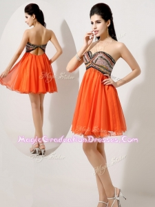 Low Price Short Orange Red Graduation Dresses with Beading and Sequins