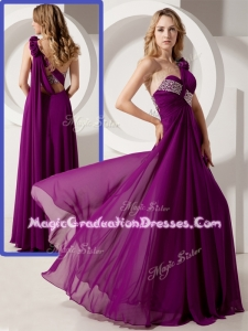 Luxurious One Shoulder Hand Made Flowers Graduation Dresses with Beading
