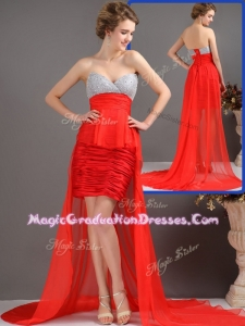 Most Popular Column High LowGraduation Dresses with Beading