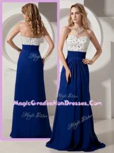 Most Popular Empire Brush Train Beading Graduation Dresses for Evening