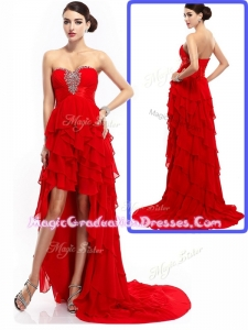 New Style High Low Ruffled Layers Graduation Dresses with Beading
