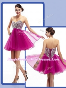 Perfect Sweetheart Fuchsia Short Graduation Dresses with Beading