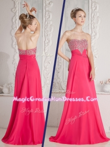 Romantic Empire Sweetheart Beading Graduation Dresses in Coral Red