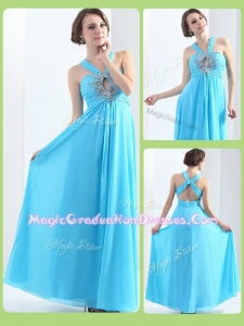 Affordable Halter Top Criss Cross Graduation Dresses with Beading