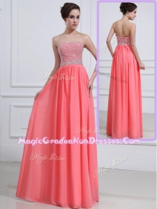Beautiful Sweetheart Watermelon Graduation Dresses with Beading