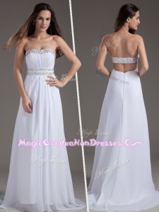 Discount Empire Strapless Brush Train White Graduation Dresses