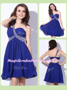 Fashionable One Shoulder Criss Cross Graduation Dresses with Beading