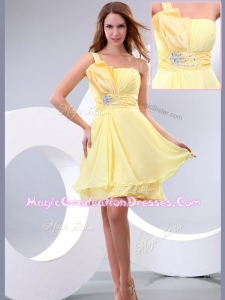 Lovely Short One Shoulder Beading and Belt Graduation Dress
