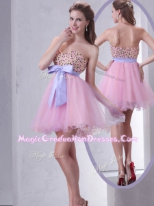 Lovely Sweetheart Beading Pink Short Graduation Dress for Cocktail