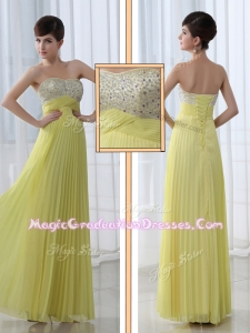 Low Price Sweetheart Floor Length Beading Graduation Dress for Graduation