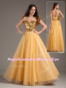 Luxurious Princess Sweetheart Sequins Long Graduation Dresses in Gold
