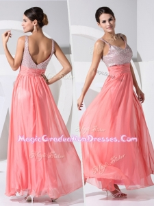 New Arrivals Empire Straps Sequins Graduation Dresses in Watermelon