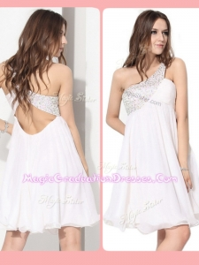 Pretty Short One Shoulder Beading Graduation Dress in White