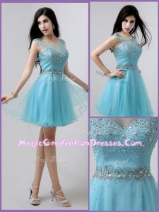 The Most Popular Short Scoop Open Back Graduation Dresses with Beading