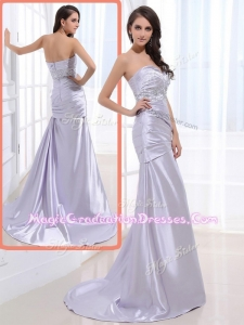 Luxurious Column Sweetheart Graduation Dresses with Beading and Ruching