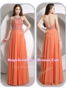 Romantic Empire Halter Top Orange Graduation Dresses with Beading