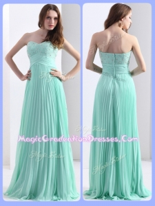 2016 Empire Beading and Sequins Apple Green Graduation Dresses with Brush Train