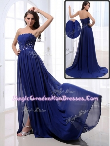 Elegant Brush Train Strapless Beading Graduation Dresses in Royal Blue