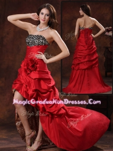 Gorgeous High Low Strapless Graduation Dress With Hand Made Flowers