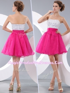 Lovely Princess Strapless Short Graduation Dresses with Beading