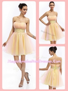 Lovely Short Strapless Lace Up Graduation Dresses with Beading and Ruching