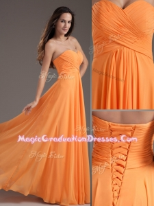 Low Price Sweetheart Floor Length Ruching Graduation Dress in Orange