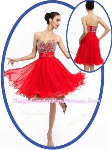 Perfect Sweetheart Red Short Graduation Dresses with Beading