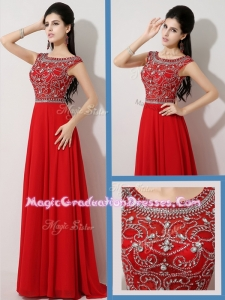 Wonderful Empire Bateau Brush Train Graduation Dresses with Beading for Fall