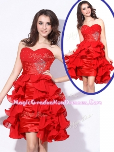 Best Sweetheart Red Short Graduation Dresses with Beading and Ruffles