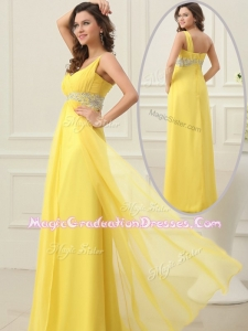 Cheap Empire One Shoulder Beading Graduation Dress in Yellow