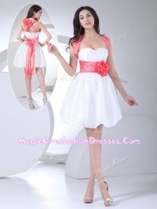 Cheap Straps Hand Made Flowers Short Graduation Dress in White