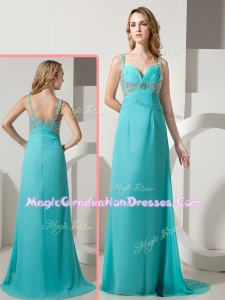 Elegant Empire Straps Beading Turquoise Graduation Dresses with Brush Train