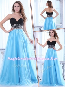 Elegant Sweetheart Beading Baby Blue Graduation Dress with Brush Train