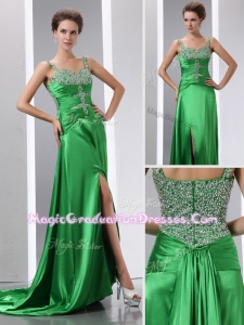 Luxurious Column Beading and High Slit Graduation Dresses with Court Train