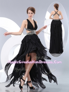 New Style V Neck High Low Graduation Dresses in Black
