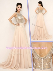Pretty Empire Bateau Brush Train Graduation Dresses with Beading