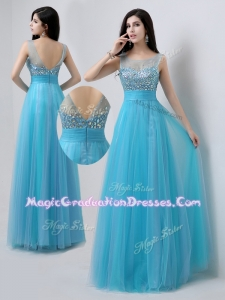 Pretty Scoop Empire Beading Graduation Dresses in Baby Blue