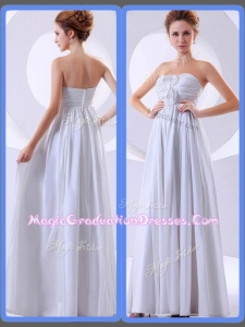 Simple Empire Hand Made Flowers White Graduation Dresses
