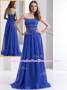 Simple Strapless Empire Blue Graduation Dresses with Ruching and Beading