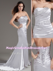 Wonderful Column Strapless Beading Brush Train Silver Graduation Dress