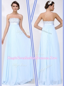 Beautiful Strapless Beading Long Graduation Dress in Light Blue
