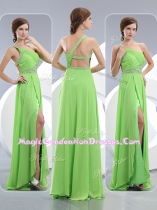 Elegant One Shoulder Spring Green Graduation Dresses with High Slit