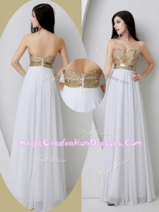 Fashionable Sweetheart White Graduation Dresses with Beading and Sequins