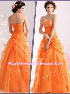 Hot Sale Strapless Beading Graduation Dresses with Hand Made Flowers