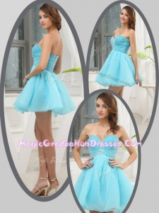 Lovely Sweetheart Beading Short Graduation Dress in Aqua Blue for Homecoming